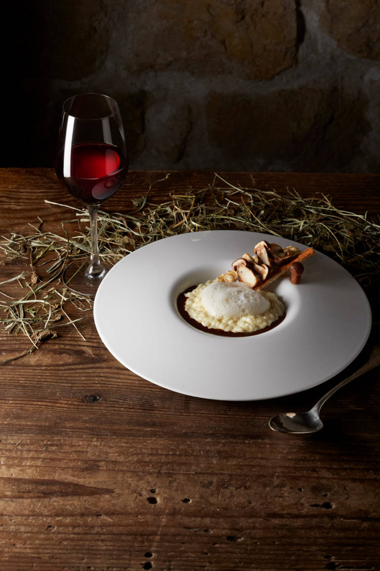 Risotto de riz Acquerello, jus corsé au Pure Pâte. Tartine de bouchons bordelais.